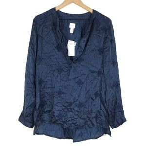 Chicos Medallion Maggie Top 1 Twilight Blue Floral